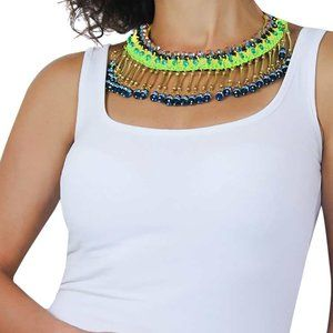 Green Yellow Beaded Handmade  Blue Choker Necklace